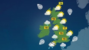Sunny spells with some patchy light rain developing.