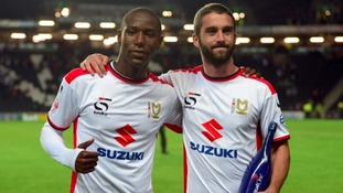 MK Dons' goalscorers Benik Afobe (left) and Will Grigg (right).