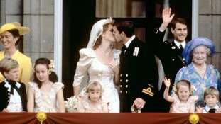 Prince Andrew and Sarah Ferguson kiss on their wedding day.