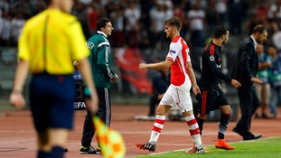 Aaron Ramsey was sent off during the first leg in Istanbul.