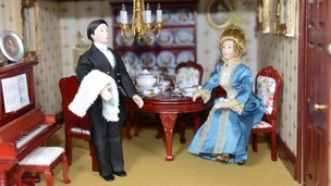 A mini Lady Grantham and underbutler Thomas Barrow take tea