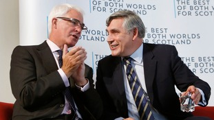 Alistair Darling and Gordon Brown during a Better Together Scottish referendum event in Dundee.