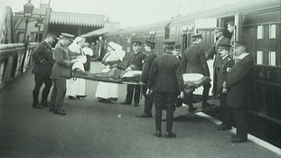 Patients arriving by train.