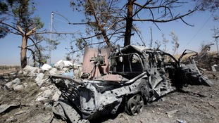 The wreckage of a car belonging to Islamic State militants in northern Iraq.