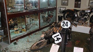 The scene in the foyer at  The National Motorcycle Museum after last night's burglary