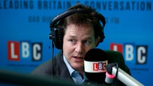 Nick Clegg made the comments on his weekly radio phone-in.