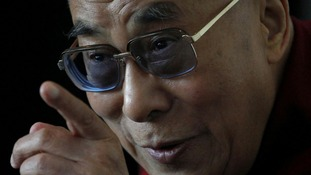 The Dalai Lama during a press conference at the Lowry Hotel in Manchester, as he begins a national tour of the UK