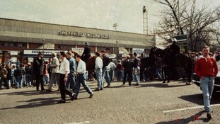 Fans head to Hillsborough stadium ahead of the disaster