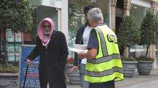 LTDA member giving out leaflets
