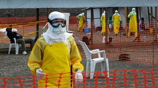Medicins Sans Frontieres health workers at an Ebola treatment camp in Monrovia, Liberia