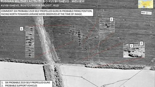 Satellite image purporting to show six Russian self-propelled guns in Russia around four miles south of the Ukraine border