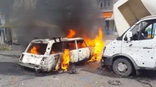 A car on fire in Donetsk in eastern Ukraine