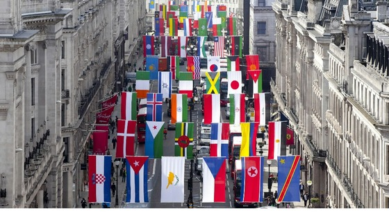 Regent Street in London fly flags from around the globe as it welcomes the world to celebrate the London 2012 games.