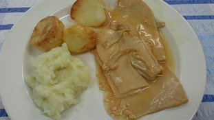 Meat with mashed potato and roast potato