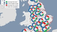 The NHS map shows which are the worst hospitals in England.