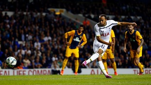 Andros Townsend scores Tottenham's third goal against AEL Limassol last night.