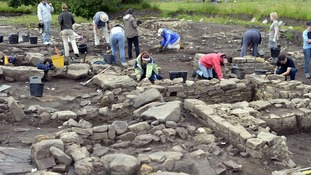 Students dig on the site at Binchester Roman Fort in 2013