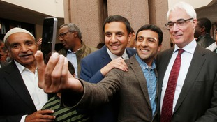Deputy leader of the Scottish Labour party Anas Sarwar posed for a 'selfie' with Alistair Darling