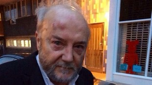 Bradford West MP George Galloway on his way to hospital last night