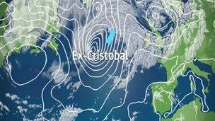 Pressure and satellite picture showing position of Ex hurricane Cristobal