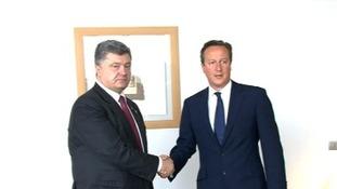David Cameron meeting Ukraine's President Petro Poroshenko