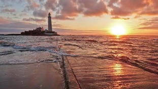 St Mary's lighthouse at sunset