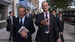 Nigel Farage and Douglas Carswell on a walkabout in Clacton.