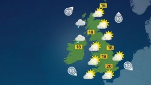 There will be highs of 20C in the south.