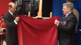 HRH Earl of Wessex unveiling a plaque to the Pals
