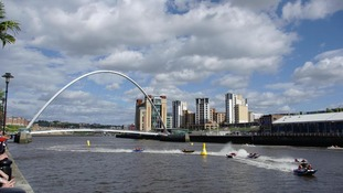 Zapcat boats racing along the River Tyne