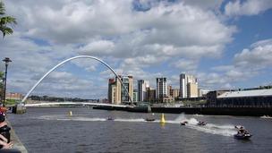 Zapcat boats racing along the River Tyne