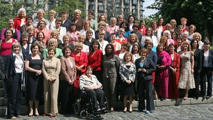 A group picture of Labour's female MPs outside Parliament in 2007.