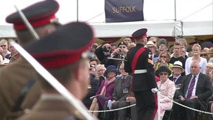 Hundreds of soldiers from the Royal Anglian Regiment have been on parade at the Imperial War Museum in Duxford.