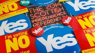 Yes and No vote lapel pins and posters.
