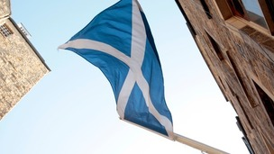 Scotland's flag moving the breeze.