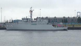Warship in Cardiff Bay