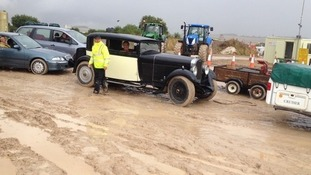 A vintage car on its way to the Steam Fair