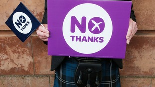 A Better Together campaigner outside the launch of the organisation's 100 Days to Go campaign at Community Central Hall in Glasgow.