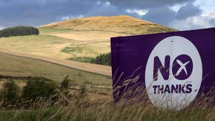 A NO campaign banner in the Scottish boarders area
