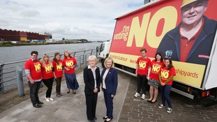 Scottish Labour leader Johann Lamont and Margaret Curran MP with an 'Voting No. Best for jobs' poster