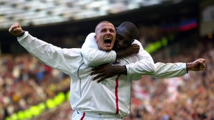 David Beckham celebrates after scoring a vital goal against Greece.