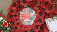 A wreath for Lee Rigby laid at the memorial
