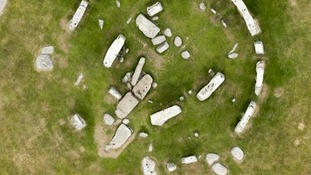 Aerial view of Stonehenge showing the parched grass.