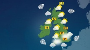 Northern and western areas will remain mainly dry with warm sunny spells and light winds