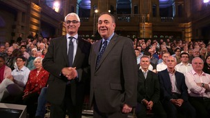 Alistair Darling and Alex Salmond at the second television debate over Scottish independence in Glasgow.