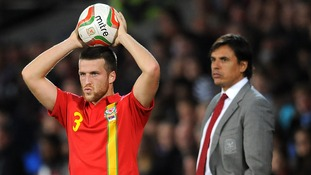 Wales's Adam Matthews takes a throw in