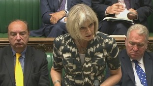 Home Secretary Theresa May addresses the House of Commons.