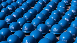 UN peacekeepers' helmets