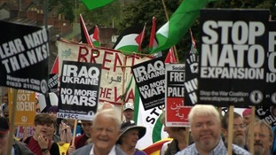 Anti-Nato protesters marching in Newport on Saturday.
