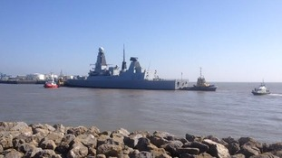 HMS Duncan arriving in Cardiff ahead of the Nato summit.
